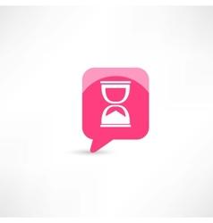 hourglass in pink bubble speech vector image