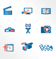 Video and photo tricolor flat icons vector