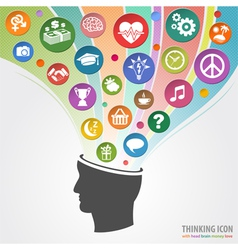 Thinking head icon vector