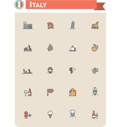 Italy travel icon set vector image
