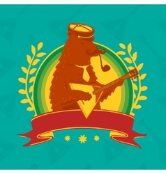 Symbol bear with balalaika vector