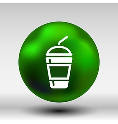 Fresh soda drink with straw fast food vector