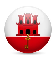 Round glossy icon of gibraltar vector
