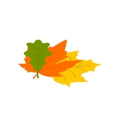 Autumn leaves isometric 3d icon vector