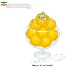 Bastani akbar mashti or iranian saffron ice cream vector