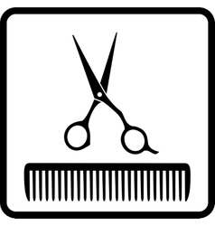 black icon with scissors and comb vector image vector image
