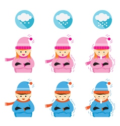 Boy and girl freezing and cold vector