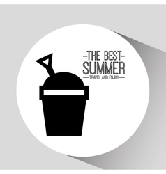 Bucket beach card best summer travel and enjoy vector