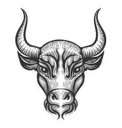 Bull head engraving vector