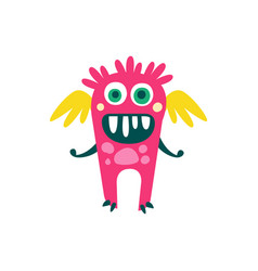 cute pink cartoon monster with wings fabulous vector image vector image