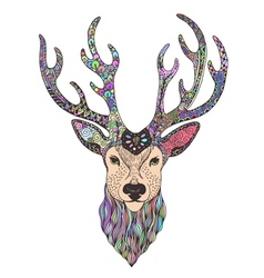 Deer head tattoo mehendi vector