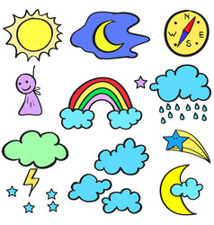 Doodle of weather theme style vector
