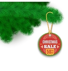 Fir branches and sale label vector