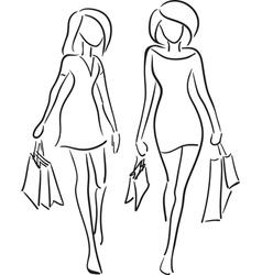 Girlfriends shopping vector image