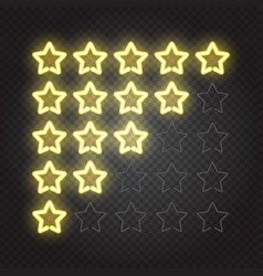 Glowing yellow neon lights 5 stars rating vector