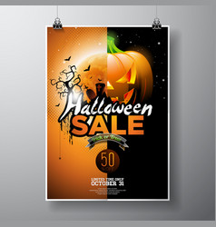 Hallowen sale with pumpkin moon cemetery and bats vector