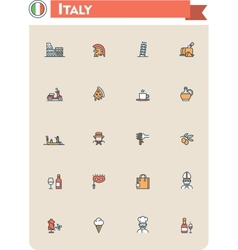 Italy travel icon set vector image vector image