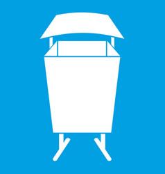 Litter waste bin icon white vector