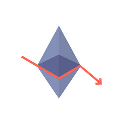 Monetary loss with ethereum value fallen vector