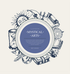 Mystical arts - modern drawn round banner vector