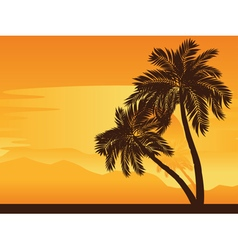 Palm tree at sunset vector