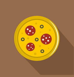 pizza with sausage and olives icon flat style vector image vector image