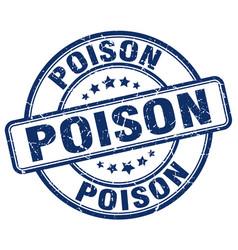 Poison blue grunge stamp vector