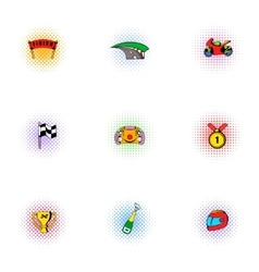 Racing and competition icons set pop-art style vector