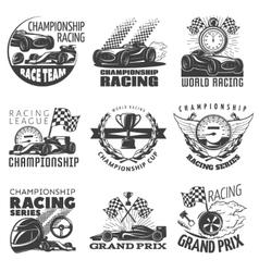Racing emblem set vector