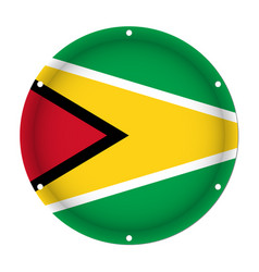 Round metallic flag of guyana with screw holes vector