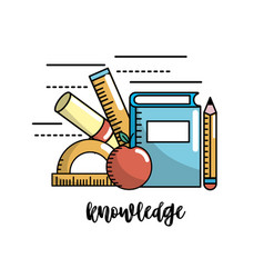 school utensils to education knowledge design vector image vector image