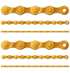 Set of golden metal bicycle chain isolated on vector