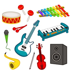 Set of isolated musical instruments vector