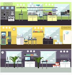 Set of posters with scientific research vector