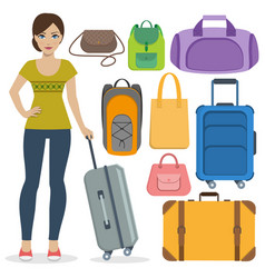 Set of travel bags and girl vector