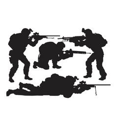 Silhouettes of soldiers set vector