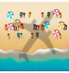 Summer beach with sunbathing people vector image vector image