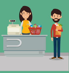 Supermaket store counter desk with woman cashier vector