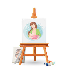 Wooden easel with picture of woman breastfeeding vector
