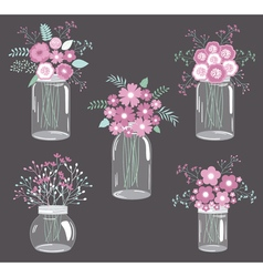 Purple flowers in jars vector