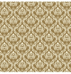 Seamless Damask Wallpaper 3 Beige Color vector image