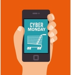 Cyber monday hand hold smartphone shopping vector