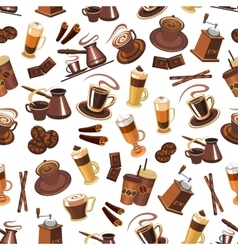 Coffee seamless pattern with beans cups mills vector