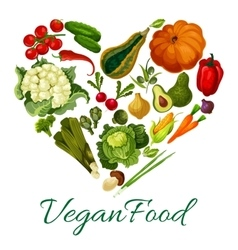 Vegan food poster with vegetables vector image
