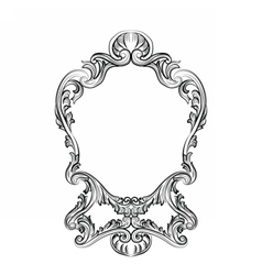 Rococo mirror frame decor vector