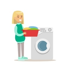 Girl loading washing machine with clothes smiling vector