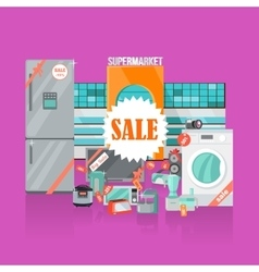 Supermarket sale household appliances flat style vector