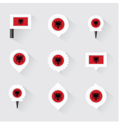 Albania flag and pins for infographic and map vector