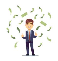 Happy successful businessman in money rain vector