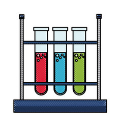 drawing test tube rack laboratory chemistry vector image